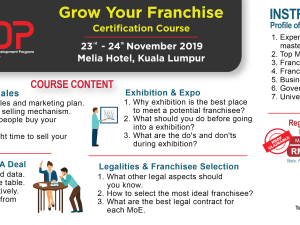 GROW YOUR FRANCHISE (GYF) CERTIFICATION COURSE (23 - 24 NOVEMBER  2019)